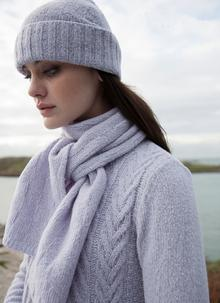 Wool Cashmere Diamond Textured Hat & Scarf Set