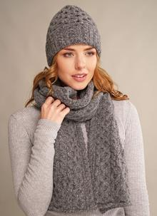 Wool Cashmere Cable Hat & Scarf Set Dark Grey