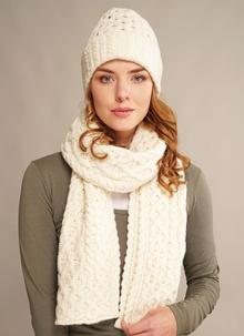 Wool Cashmere Cable Hat & Scarf Set Natural